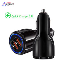Car Charger Quick Charge 3.0 QC 3.0 Fast Charging Adapter Dual USB Car-Charger สำหรับ iphone Micro USB ประเภท C (China)