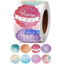500pcs Thank You Stickers Labels in Roll Colorful Watercolor Design for Small Business, Wedding Favors, Birthdays, Bakeries,Mail