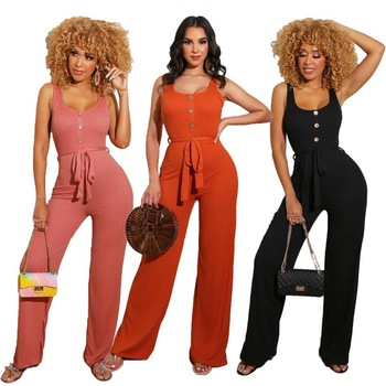 2020 Summer New Jumpsuit Solid Color Casual Jumpsuit European and American Women 's Clothes S - XXL casual women s satchel with zips and solid color design
