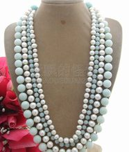 "N082707 21"" 4Strands Pearl Amazonite Necklace(China)"