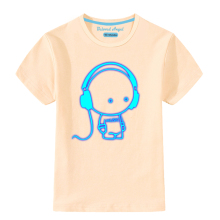 Kids T-Shirt Tops Short-Sleeve Teenager Girls Cartoon Print Boys Summer Tees Light-Up