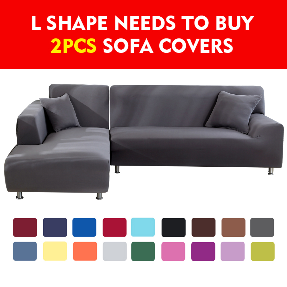 24colour Solid Color Corner Sofa Covers For Living Room Elastic Spandex Slipcovers Couch Cover Stretch Sofa Towel 1/2/3/4 Seater