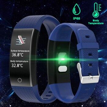 Body Temperature Detection Smart Bracelet Immunity Measure Blood Pressure Heart Rate Fitness Bracelet IP68 Waterproof Russian