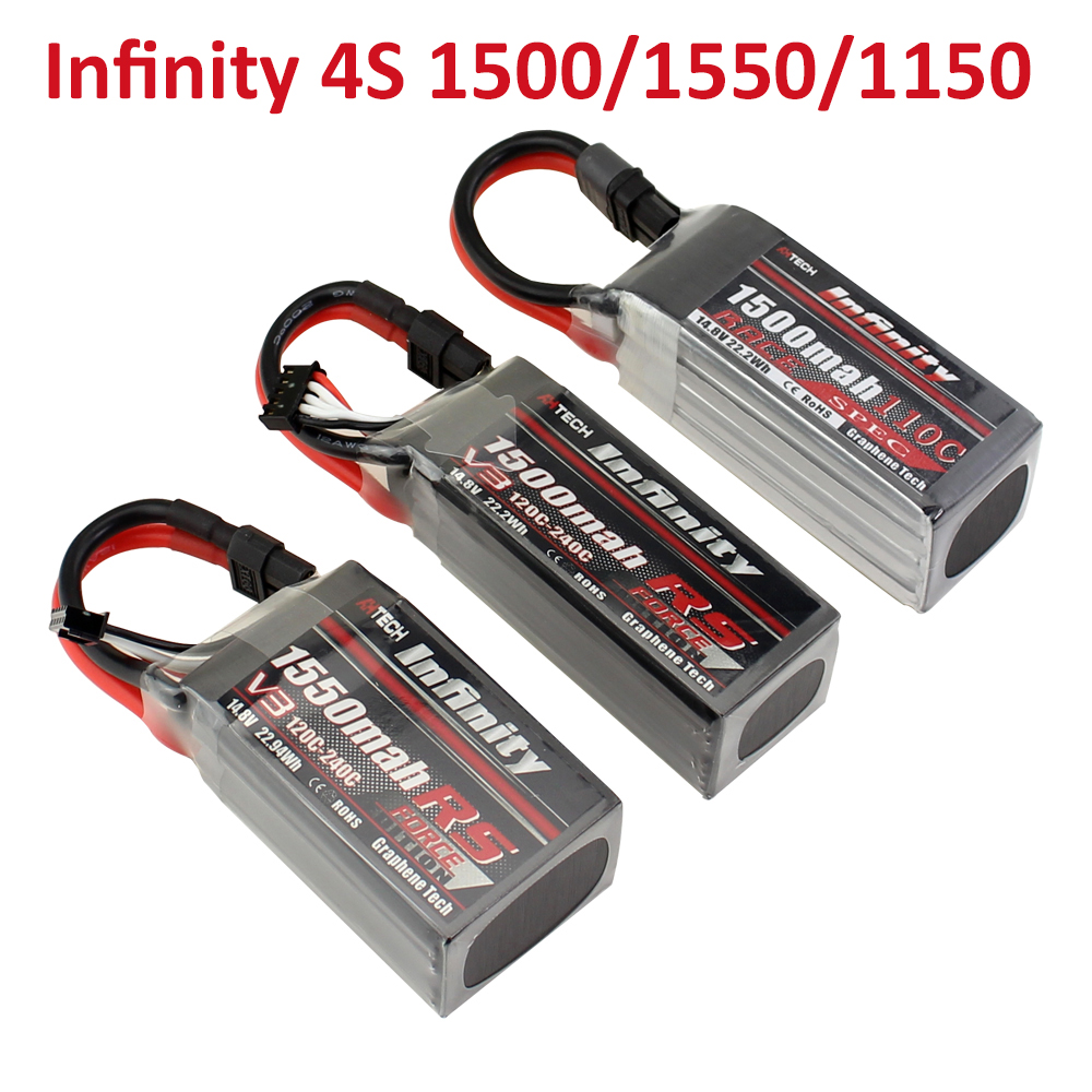 Infinity <font><b>4S</b></font> <font><b>LiPo</b></font> Battery 1550mAh RS R5 V3 <font><b>1500mAh</b></font> 1150mah 120C 110C 14.8V With SY60 XT60 Plug RC <font><b>Lipo</b></font> Battery image
