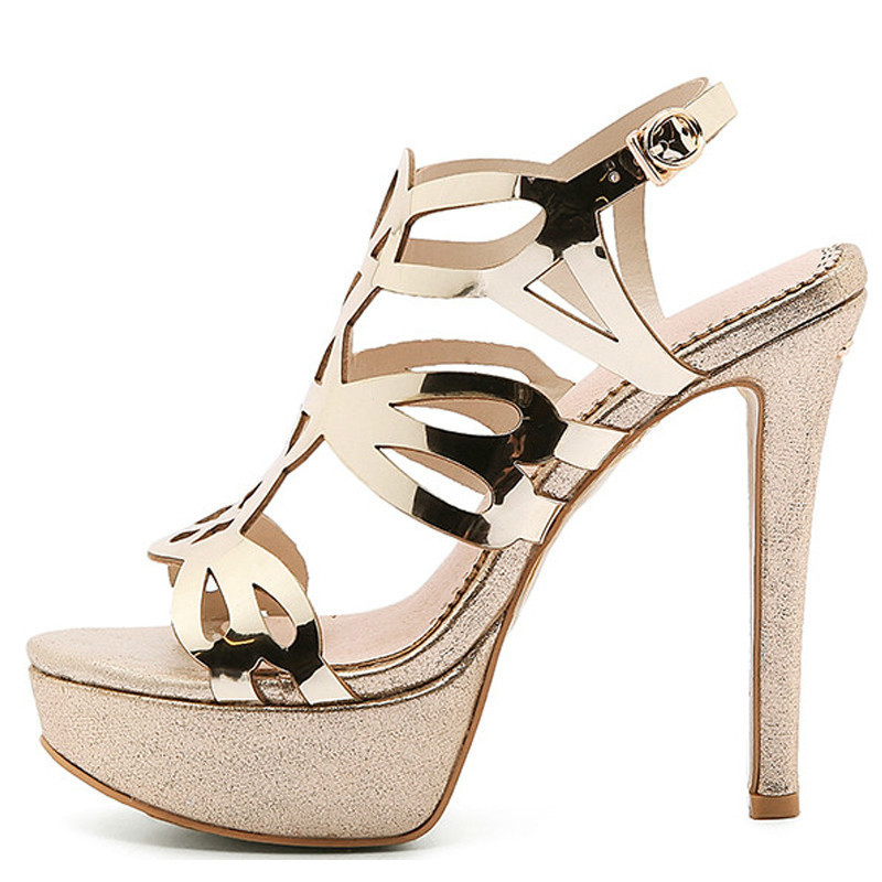 YECHNE Women Gold Open Teen Hooks Sandals Plus Size 33 43 Platform Shoes Sexy Silver Peep Toe Glitter Strass Sandals