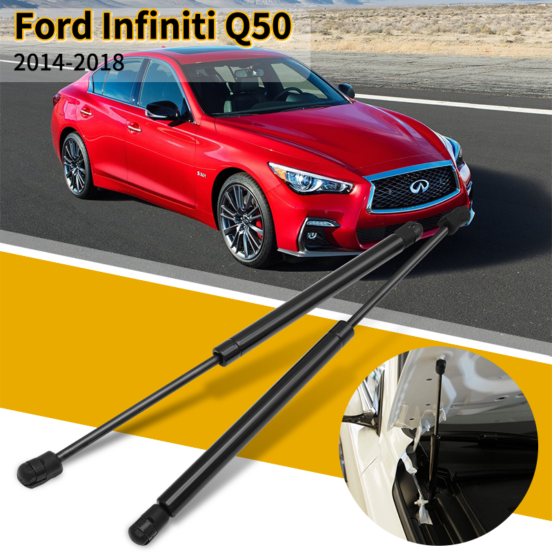 2 <font><b>PCS</b></font> Car Bonnet Hood Lift Supports Rods Spring Shock Absorbe Gas Struts For Infiniti Q50 2014 2015 2016 2017 2018 image