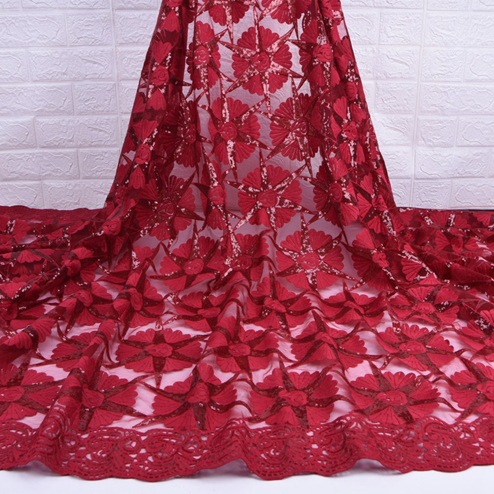 Image 2 - Red Milk Silk Lace African Nigerian Net Lace Fabric With Sequins High Quality French Mesh Lace Fabric For Wedding Sewing A1733-in Lace from Home & Garden