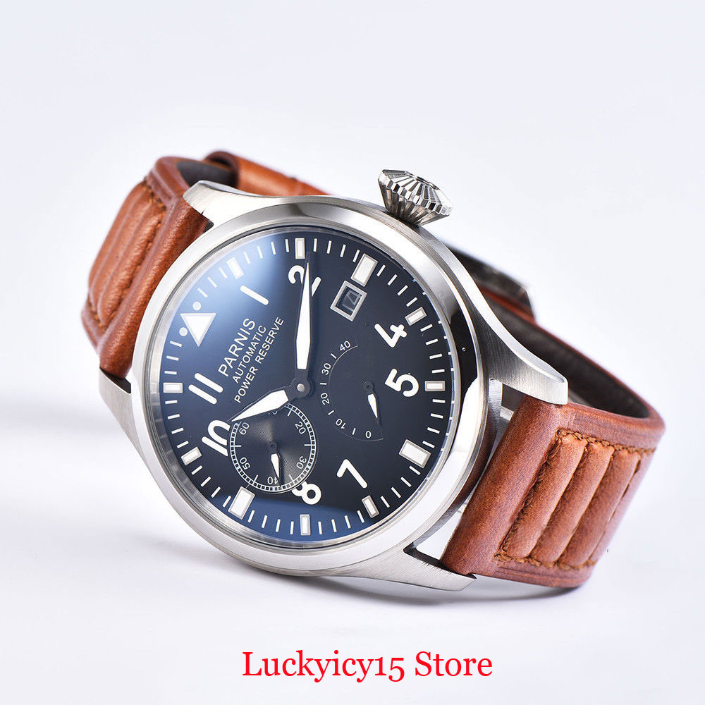 PARNIS Fashion High Quality 47mm Self Winding WWristwatch Power Reserve Date Indicator Big Crown <font><b>ST2530</b></font> Automatic Movement image