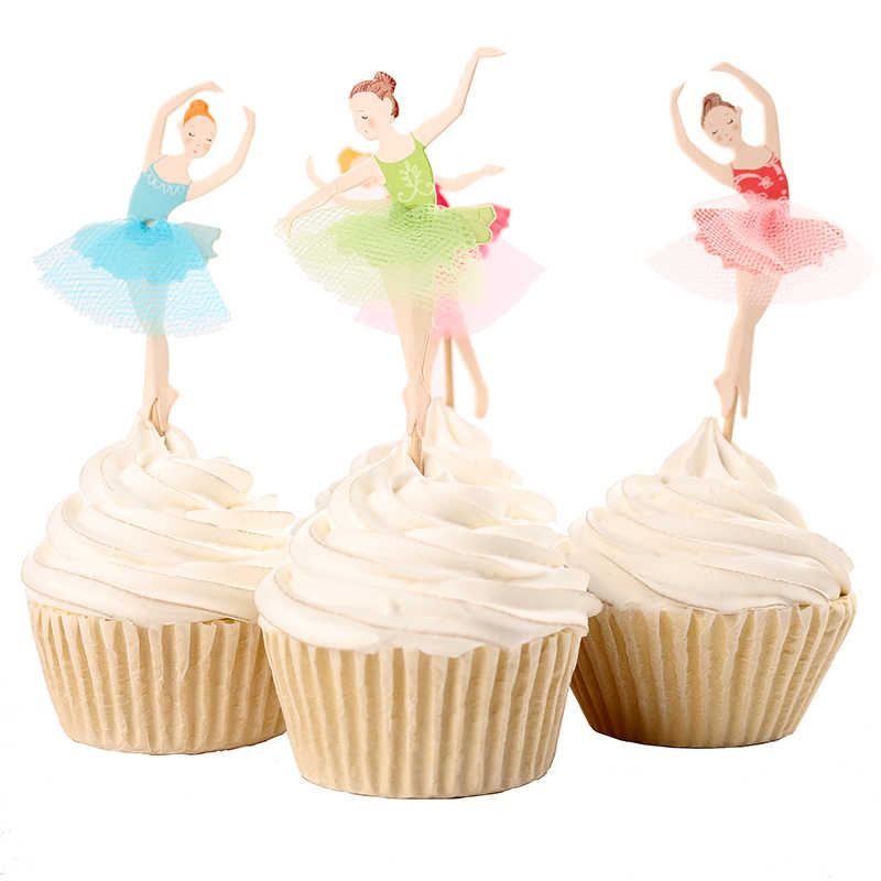 Baru 24 Pcs/set Selamat Ulang Tahun Ballerina Fairy Cupcake Topper Pilihan Renda Menari Gadis Kue Sisipan Dekorasi Pesta Ulang Tahun