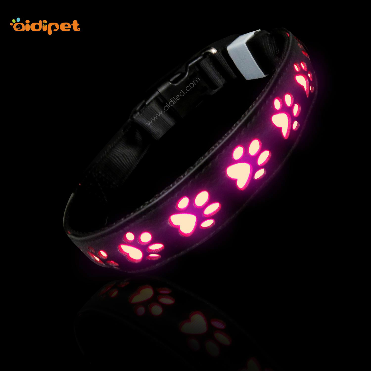 LED Pet Collar Trend DOG'S Paw Pattern USB Charging Grb Luminous Collar Colorful Dog Neck Ring
