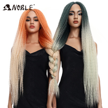 Braided Wig Lace-Front Synthetic Pink Black-Women Noble Long for Green 38inch