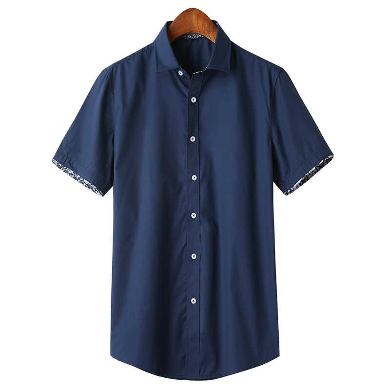 여름 망 프랑스 셔츠 커프 드레스 셔츠 남자 짧은 소매 단색 꽃 스타일 커프스 단추 포함 2020 패션 새로운