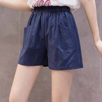 Nuevo estilo, a la moda ropa de calle, pantalones cortos de lino holgados de cintura alta para Mujer, pantalones cortos de lino de pierna ancha, pantalones cortos de playa, Calzones para Mujer