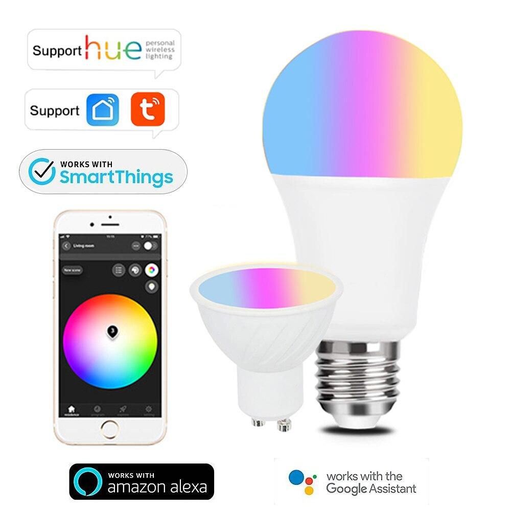 Tuya Zigbee 3,0 умный светильник лампочка GU10 E27 Светодиодная лампа работает с оттенком Alexa Echo Google Assistant SmartThings RGB цветовая температура лампы с регули...