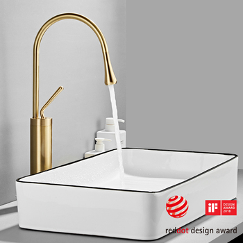 Modern Brushed Gold Basin Faucets Single Handle 360 Rotation Mixer Tap Washbasin Water Crane For Bathroom Vessel Sink Faucets 12