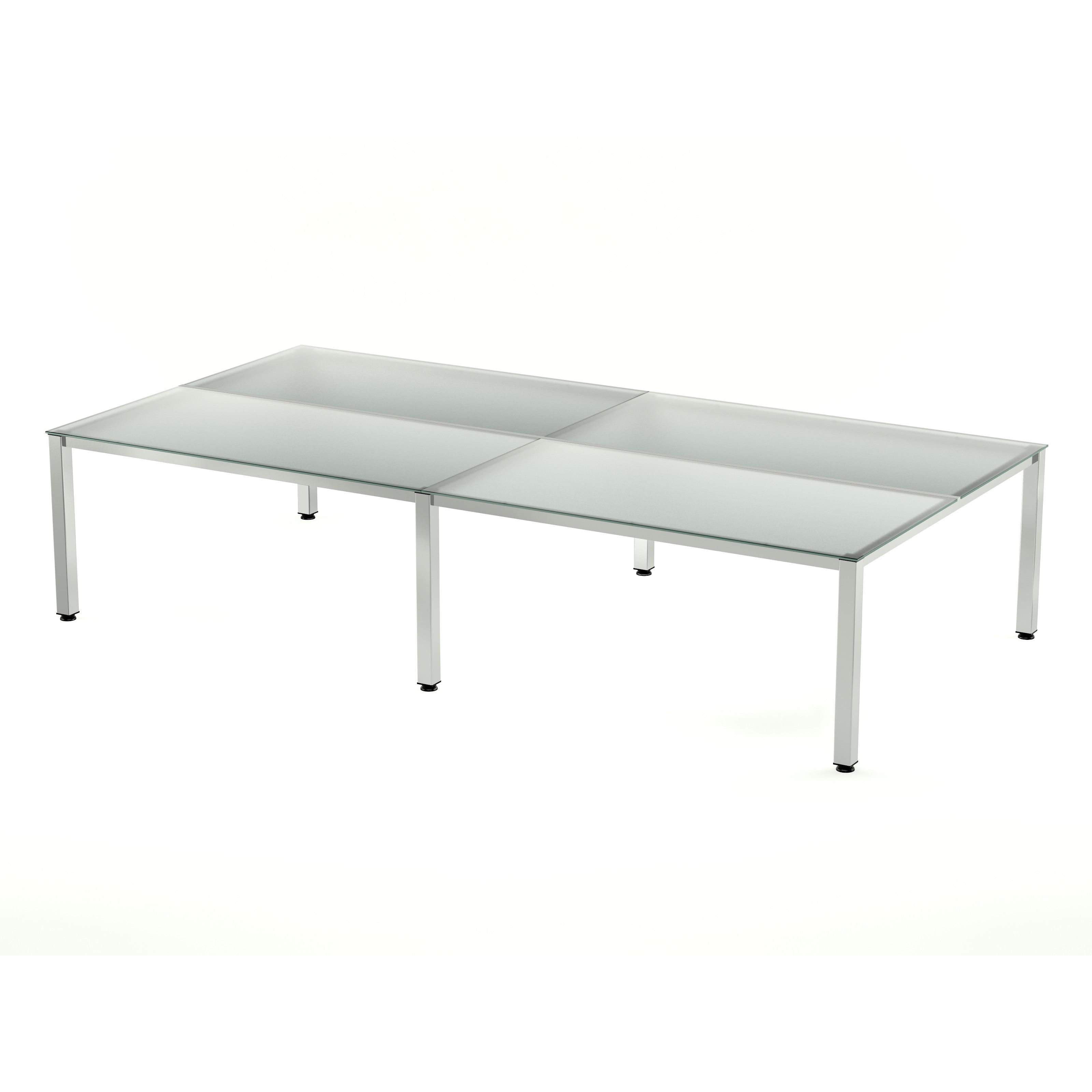 TABLE DE OFFICE QUADRUPLE (4 POSTS) EXECUTIVE SERIES 320x163 CHROME/CRYSTAL