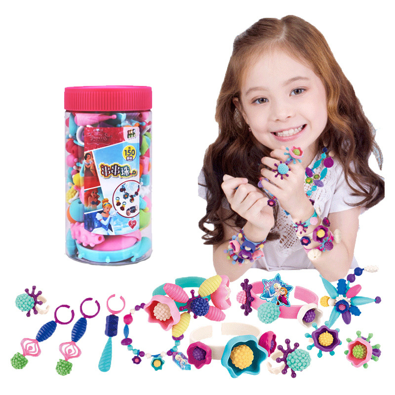 Children Handmade Color String DIY Pop Beaded Bracelet Cordless Necklace GIRL'S Wear Beads Educational Toy