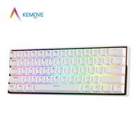 KEMOVE DK61 Mini tastiera meccanica Snowfox Bluetooth cavo staccabile sostituibile a caldo tastiera da gioco Wireless RGB