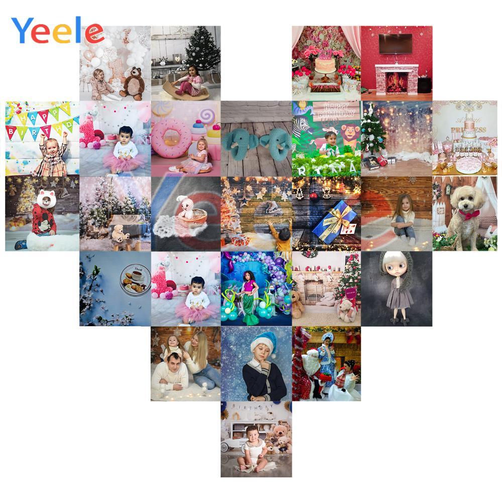 Yeele Balloon Farm Animal Lattice Grass Cloud Birthday Photography Background Customized Photographic Backdrops for Photo Studio