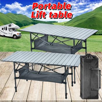 Składany stół kempingowy przenośny składany stół Camping stół kuchenny składany stół kempingowy stół podnoszony przenośne biurko stolik na zewnątrz tanie i dobre opinie NoEnName_Null CN (pochodzenie) Outdoor multifunctional folding table 50kg-80kg L120cmXW55cmxH55-70cm L18cmxW15cmxH68cm 5 52kg