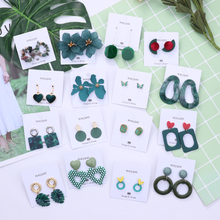 MENGJIQIAO 2019 New Fashion Deep Green Flower Geometric Drop Eearrings For Women Summer Exaggerate Holiday Pendientes Jewelry