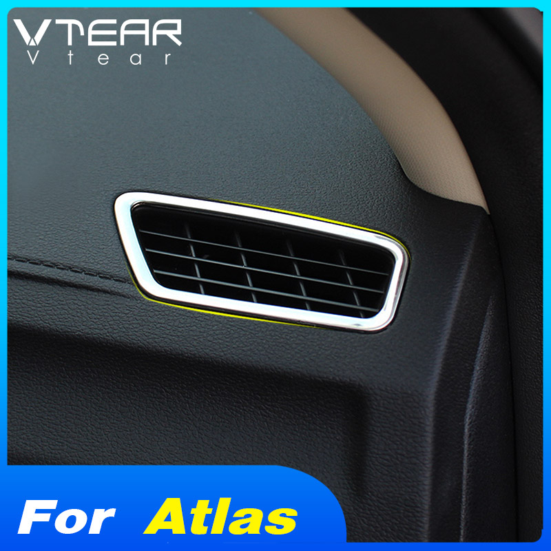 Vtear-Tapa de salida de aire para coche accesorio de marco de decoración, moldura de acero inoxidable para Geely Atlas Emgrand NL-3 Proton 2018 2019