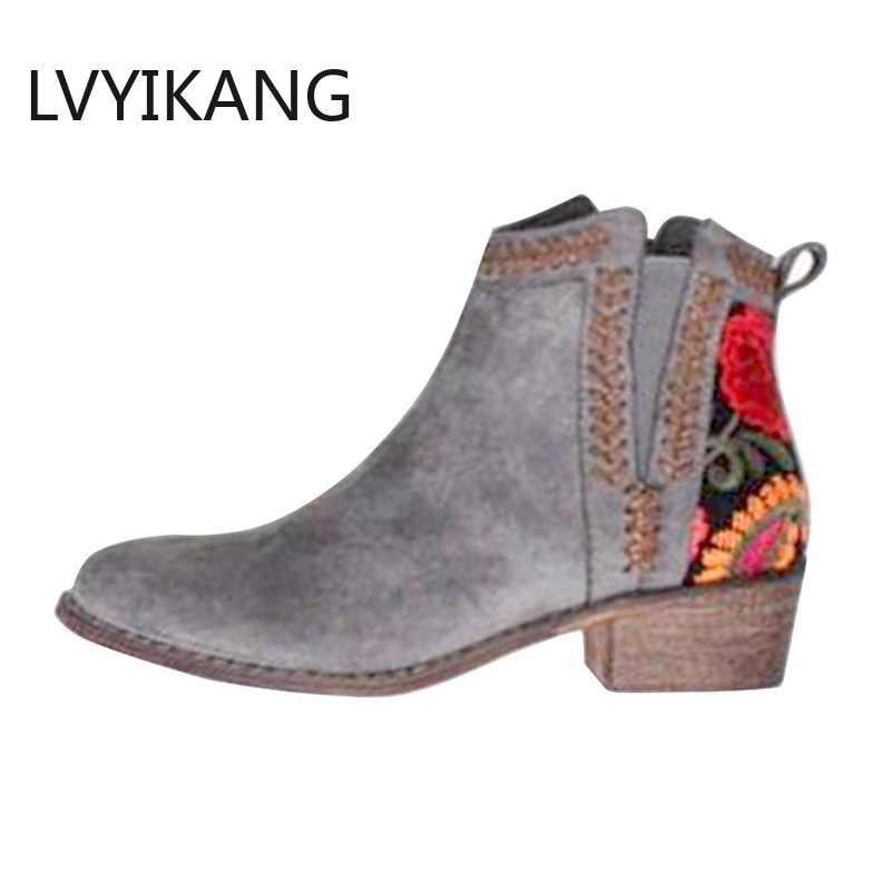 Yeni 2019 Baskı yarım çizmeler Kadın Sonbahar Kış Kadın Kadınlar Üzerinde Kayma Rahat yarım çizmeler platform ayakkabılar Kadın Flats Artı Boyutu