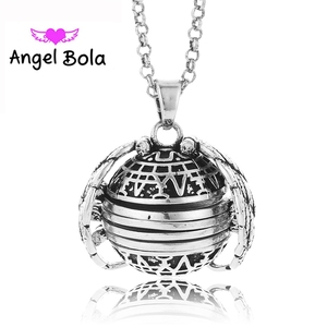 """Wholesale LOTS 10PCS Antique color 18mm Four Photo Ball Locket Angel Wing Living Memory Pendant Necklace 30"""" Chain Jewelry L081(China)"""
