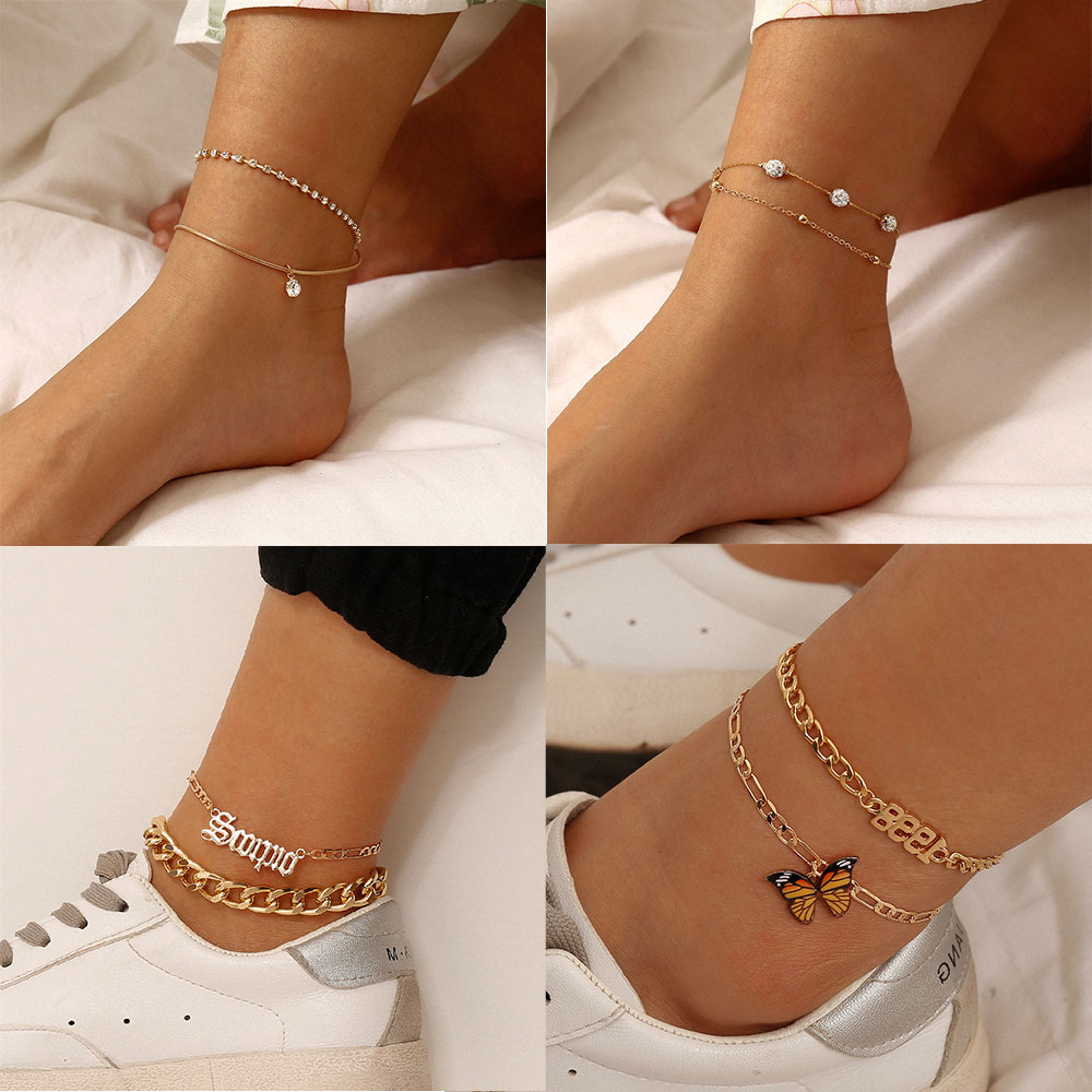 Bohemian Crystal Butterfly Chain Anklet for Women Leg Chain Tiny Chain Vintage Foot Jewelry Accessories Anklets Set 2020