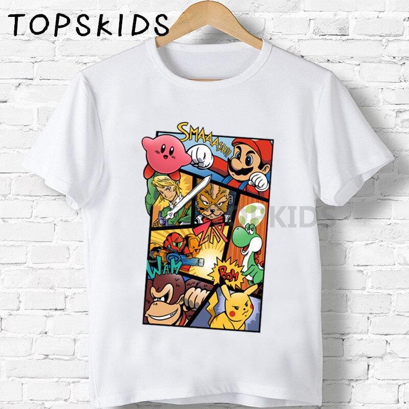 Детские футболки с мультяшным принтом, супер разбитые броши, Забавные топы для мальчиков и девочек, детская летняя футболка с коротким рука...