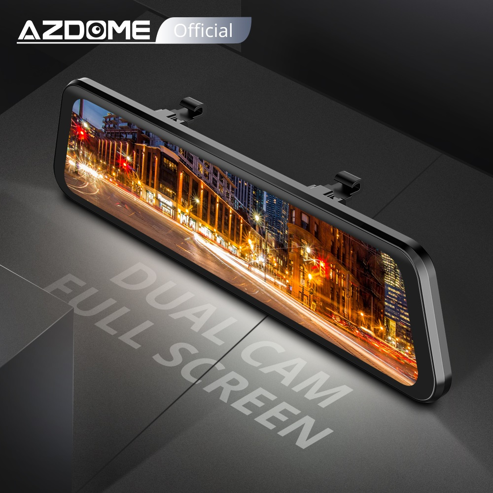 "AZDOME PG02 Night Vision Car Dvr Camera Rearview 10"" Streaming Media Mirror Video Recorder Camcorder Dash Cam FHD 1080P dual len DVR/Dash Camera     - title="