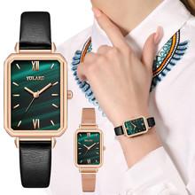 Zegarek kwarcowy prostokątny wzór zegarka mały zielony zegarek damski zegarek damski zegarek damski zegarek relogio feminino часы tanie tanio Sanwony QUARTZ Skóra wdrażania wiadro Stop Nie wodoodporne Moda casual Rectangle Odporne na wodę Brak Szkło X817171717