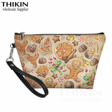 THIKIN Cute Christmas Gingerbread Man Print Ladies Cosmetic