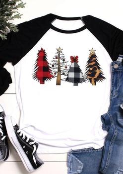 Christmas T Shirt Women Christmas Tree Top Three Quarter Sleeve Tees 2020 Autumn Winter Tee Shirts Raglan Sleeve Tee plus raglan sleeve graphic tee
