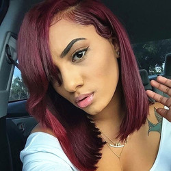 370 Big Lace Frontal Human Hair Wig With Bangs Straight Red Bob 13X4 Front Lace Wigs 99J Burgundy Glueless Preplucked Remy Hair