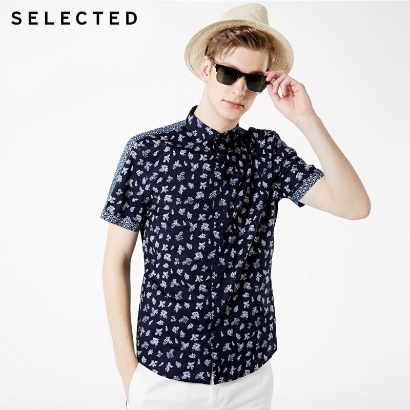 SELECTED Men's 100% Cotton Printed Short-sleeved Shirt |419204568