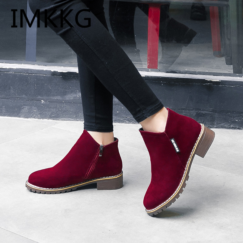 NEW Womens Fashion Shoes Comfort Ankle Boots Med Heels Brown Casual Round Toe