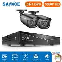 SANNCE 4CH DVR CCTV система 2 шт/4 шт 2MP ИК Наружные камеры безопасности 1080P HDMI TVI CCTV DVR 1280TVL комплект наблюдения