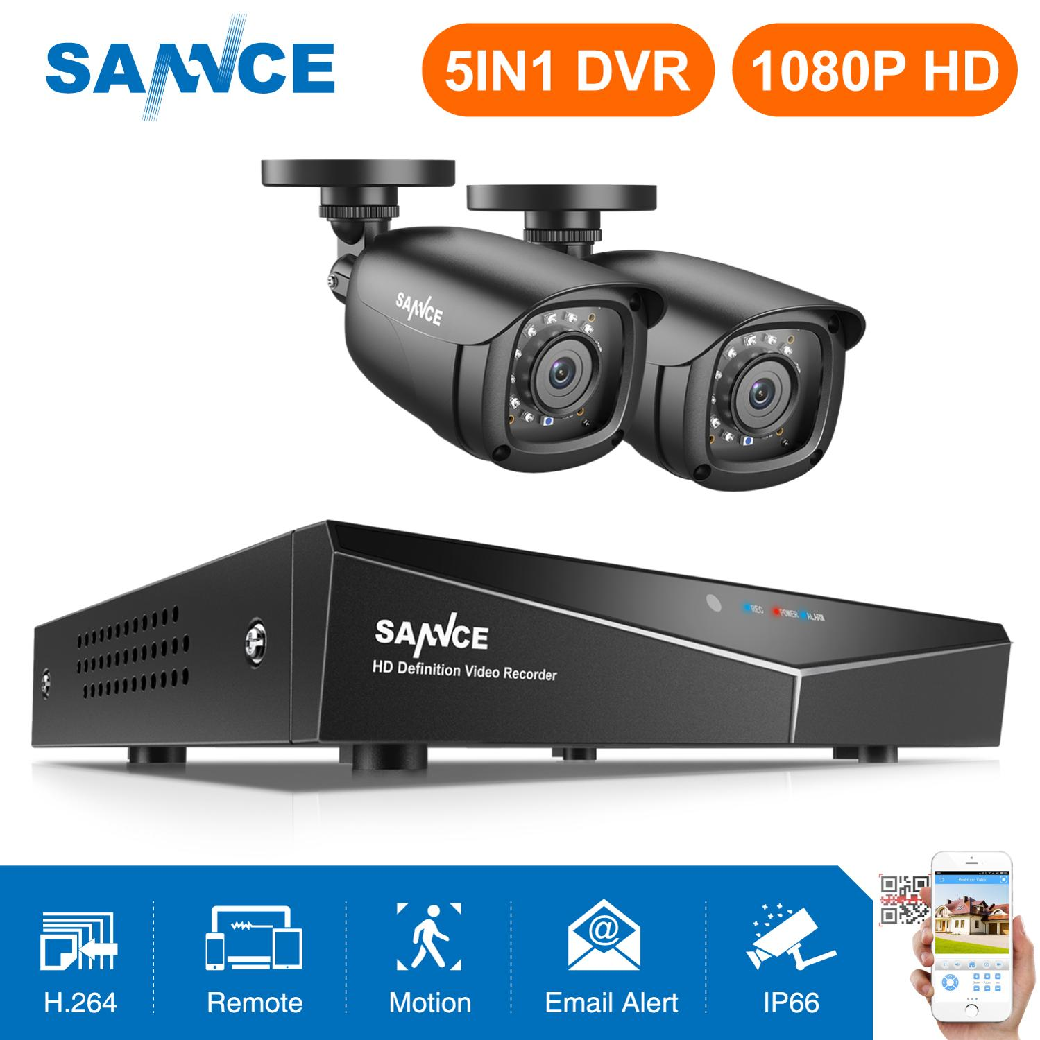 SANNCE 4CH DVR CCTV System 2PCS/4PCS 2MP IR Outdoor Security Cameras 1080P HDMI TVI CCTV DVR 1280TVL Surveillance Kit
