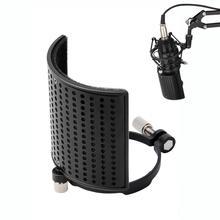 Moukey 3 Layer Microphone Pop Filter Shield Metal Mic Windscreen U Shape Recording Studio Mic Screen Mask for Diameter 46 70mm