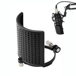 Image 1 - Moukey 3 Layer Microphone Pop Filter Shield Metal Mic Windscreen U Shape Recording Studio Mic Screen Mask for Diameter 46 70mm