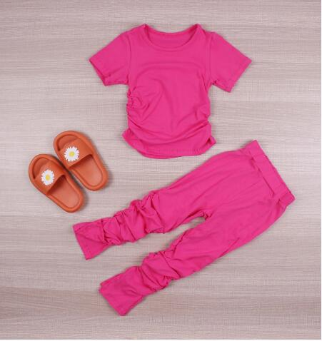 Kids Set Open Back Hooded Puff Sleeve Tops Stacked Slit Pants Suit Active Wear Tracksuit Two Piece Set Fitness Outfit girls 3