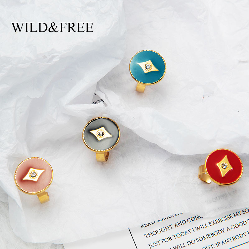 Wild & Free Simple Wide Gold Round Rings For Women Stainless Steel Colorful Enamel Black Open Finger Rings Vintage Jewelry 6