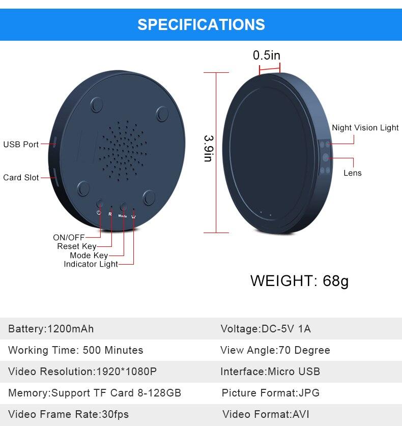 Mini caméra HD 1080P chargeur sans fil rapide Vision nocturne détection de mouvement