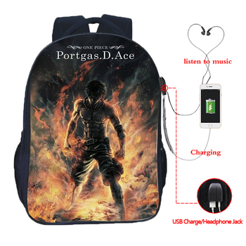ONE PIECE USB charging bag Monkey D.Luffy multi-function school backpack fashion Portgas D Ace  youth