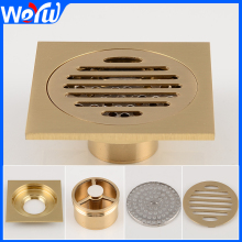 Bathroom Brass Floor Drain Gold Square Shower Floor Drains Linear Covers Sink Linear Floor Waste Grates цена 2017