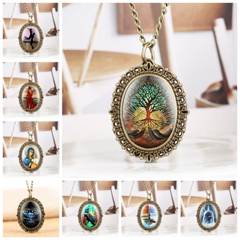 Little Oval Life Tree Statue Of Liberty Beauty Diamond Pattern Abstract Tree Rose In A Glass  Quartz Pocket Watch Chain Necklace