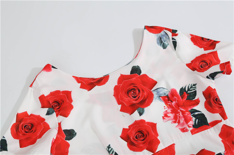Summer Floral Print Elegant A-line Party Dress Women Slim White Short Sleeve Swing Pin up Vintage Dresses Plus Size Robe Femme 65