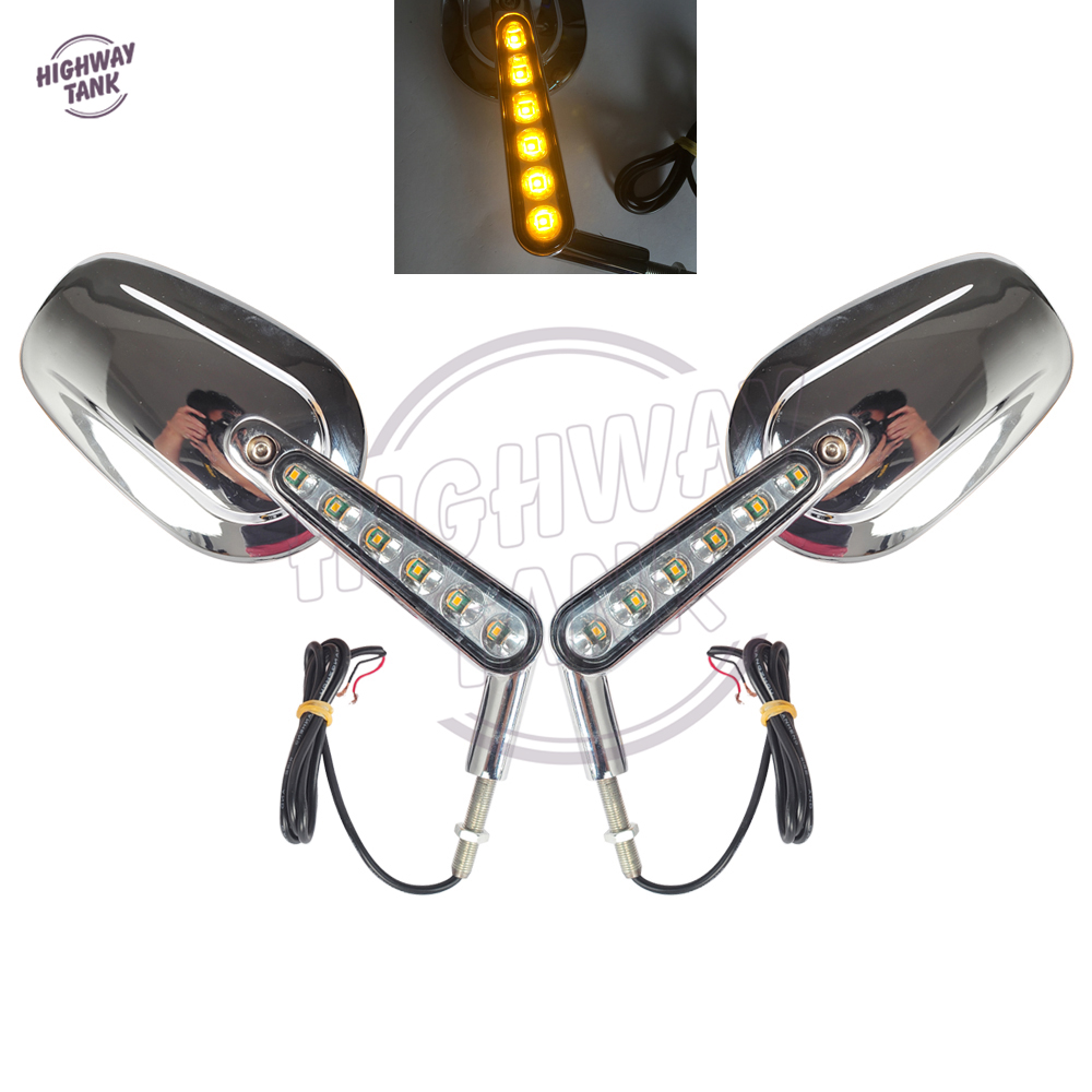 1 Pair Chrome Motorcycle Mirror Muscle LED Turn Signals Light Moto Rear side View mirrors case for Harley V-ROD V ROD VRSCF image