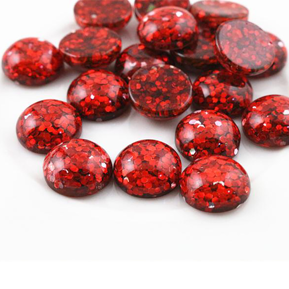 New Fashion 40pcs 12mm Red Color Flat Back Resin Cabochons Cameo G5-01